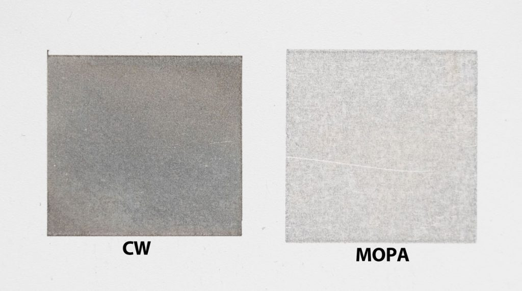 Cleaning performance comparison on Aluminium by CW and MOPA pulsed fiber laser